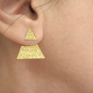 Textured gold ear jackets, minimalist earrings, modern jewelry, geometric earjackets, double sided front back earrings