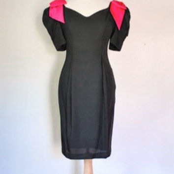 80s Preppy Black & Pink Party Dress