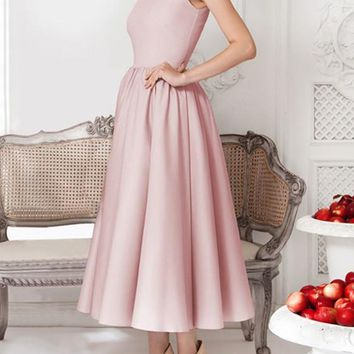Pink Plain Pleated Round Neck Elegant Midi Dress