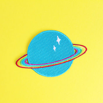 Rainbow Planet Embroidered Iron on Patch