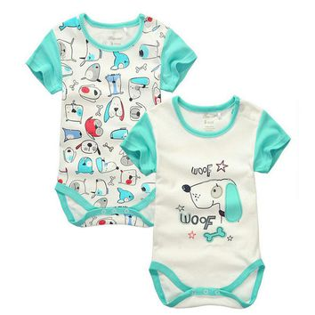 2pieces/lot Baby Boys Girls short sleeve Rompers 2017 Newborn Baby's Clothes Kids Costume Jumpsuit&Rompers KF151