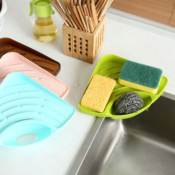 Cangdy Color Kitchen Sink Corner Storage Rack Sponge Holder Wall Mounted Tank Cleaning Sponge Drainboard Bathroom Accessories