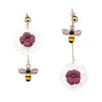 XIAO YOUNG Lace Flower Bee Design Long Earrings Statement Ab Design Party Earring Fashion Jewelry Pink Purple Blue Colors