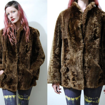 40s 50s Vintage SHEARLING Jacket Soft Warm Chocolate Brown Real Genuine Sheepskin Lamb Fur Lambswool Coat Bohemian Boho 1940s 1950s vtg M