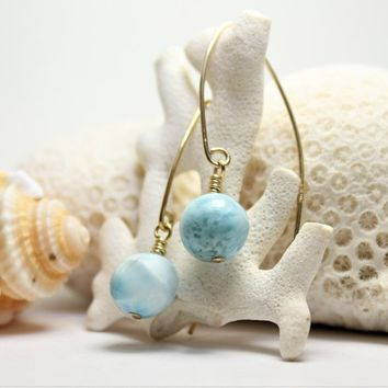 Azure Blue Larimar Balls Gold Filled Dangle Earrings, GF dolphin stone 10mm round beads fancy street style, bohemian gift idea, wire wrapped