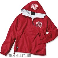 Monogrammed Red Pullover Rain Jacket