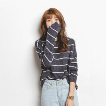 Stripes Knit Tops Sweater Korean Winter Round-neck Jacket [6466221508]
