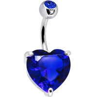 September 14mm Heart Solitaire Birthstone Belly Ring   Body Candy Body Jewelry