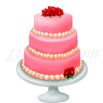 Sweet Pink Love Flower Cake Dessert Clip Art, Sweets, Pastry Digital Graphics  300 DPI 8 x 8.5 Instant Download