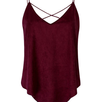 Burgundy V-Neck Cross Front Camisole