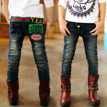 Fashion Boys Jeans for Spring Fall Children's Denim Trousers Kids Dark Blue Designed Pants 4-13years boys pants jeans