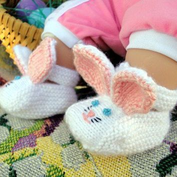 Hand Knit Baby Bunny Booties  3 months by thewidowswalk on Etsy