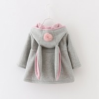 Baby Girls Rabbit Hooded Princess Jacket