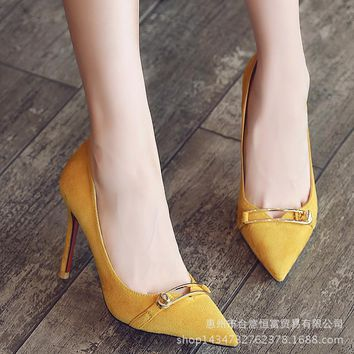 Pointed Toe Metal Low Cut Solid Color Stiletto High Heels Party Shoes
