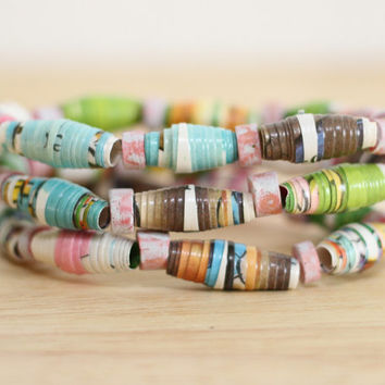 3 Recycled Paper Bead Bracelets, Handmade From Book Pages, The Riddle Book