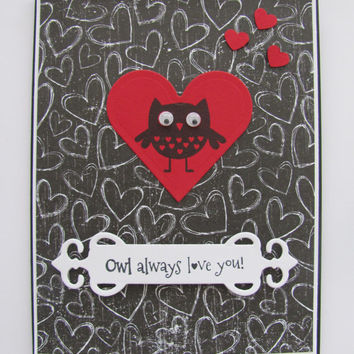 Valentines Day Card, Owl Always Love You, Anniversary Card, Hearts, Owl