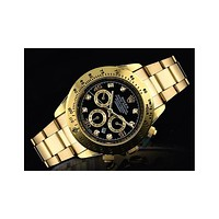Rolex three fashionable tide brand watches F-SBHY-WSL Gold + gold case + black dial