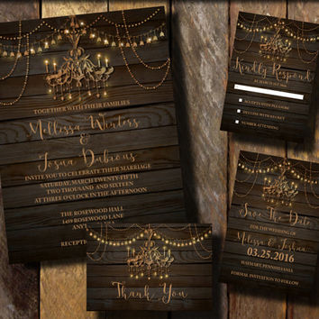 Rustic Wedding invitation suite, Chandelier invitation suite, Barnwood invitation suite ,String light invitations Brown and Gold, Printable