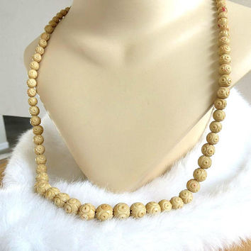 Vintage Long Carved Celluloid Bead Necklace