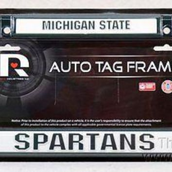 Michigan State Spartans GREEN FRAME Metal Chrome License Plate Tag University