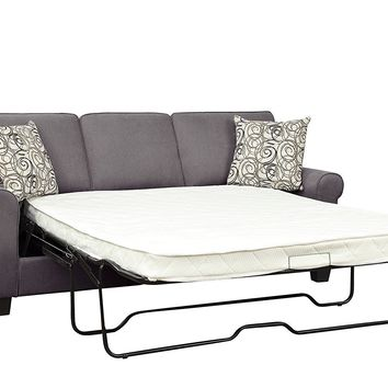 Polyester Sofa With A Pull Out Sleeper, Gray