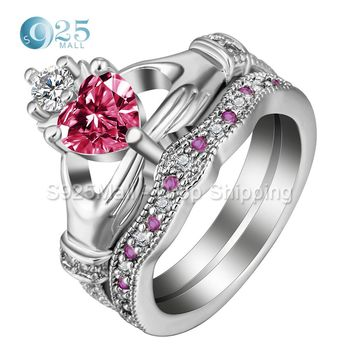 Trendy claddagh style love heart CZ rings white & red crystal Knot Women Biker gift crown wedding engagement ring set