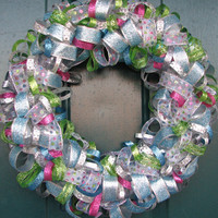 Sparkly Christmas ribbon wreath.