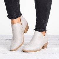 Side Cutout Booties - Clay