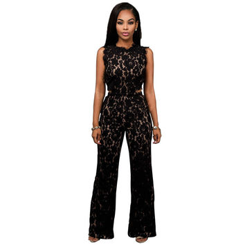 Club Wear Lace Women Jumpsuit Ladies O Neck Black Floral Elegant Rompers Classic Casual Zipper Bodysuit