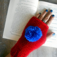 Fingerless Gloves, Handmade Gloves, Red Gloves, Knit Mittens, Hand Warmer,Winter Gloves,Long Gloves,Women Gloves,Arm Warmers, Crochet Gloves