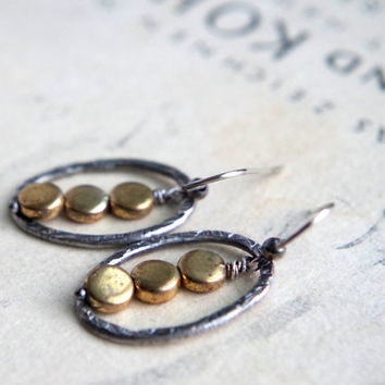 Fine silver and brass earrings - Hand forged metalwork dangles - Organic ovals - Mixed metal artisan earrings