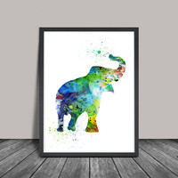 Elephant Art, Elephant Watercolor Painting, Watercolor Art Print, Decor Poster, Elephant Nursery Wall Decor, Elephant Baby Decor(116)