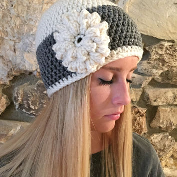 Crochet Beanie Hat Winter Hat Shell Beanie Skull Cap Teens Back to School Winter Beanie Fall Beanies Flower Beanie