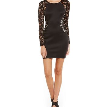 I.N. San Francisco Sequin Lace Illusion Long-Sleeve Hourglass Sheath Dress | Dillards