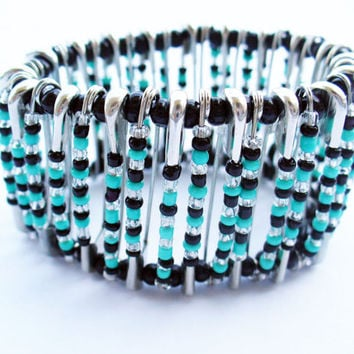 Turquoise Safety pin Bracelet Handmade Jewelry