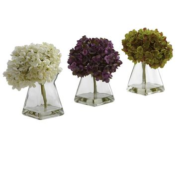 Silk Flowers -Hydrangea With Vase -Set Of 3 Arrangement Artificial Plant