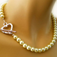 Pearl Necklace Brides Bridesmaids Gift Jewelry Silver Heart Toggle Elegant One Strand Pearl