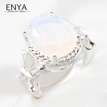 ENYA Oval Ring Xmas Gift New Collection Silver Plated White Fire Moonstone Ring Cubic Zirconia Crystal Ring For Women R0803