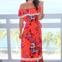 Coral Floral Off Shoulder Maxi Dress