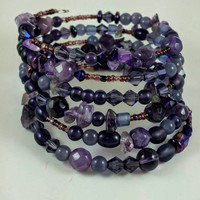 Gemstone jewelry, purple bracelet, amethyst bracelet, memory wire, Christmas gift