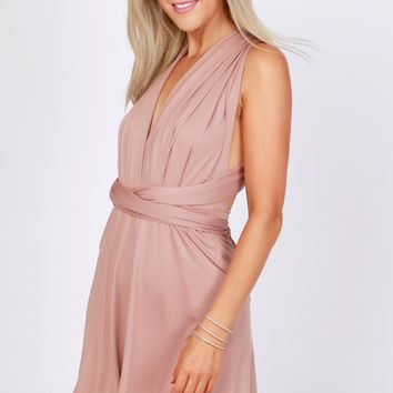 Versatile Halter Wrap Dress Taupe