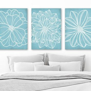 Light Blue BATHROOM WALL Art, CANVAS or Prints, Blue Flower Bedroom Pictures, Dahlia Flower Outline, Floral Bathroom Decor, Set of 3 Artwork