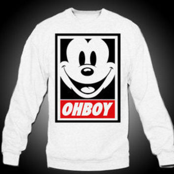 Mickey Mouse OHBOY Crewneck - Obey Swag ILLEST Lakers Kings Lil Wayne Disney