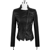 New Womens Punk Style PU Leather Jacket Coat Short Slim Motorcycle Jacket Black