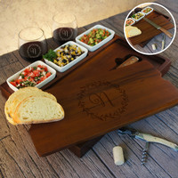 Personalized Bruschetta Bread Board Set including Ceramic Bowls and Bread Knife Engraved with Monogram Design Options & Font Selection
