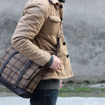 Urban-inspired Large Roomy Grid Messenger Bag, Best for Your Laptop, Books and Documents, Made to Order