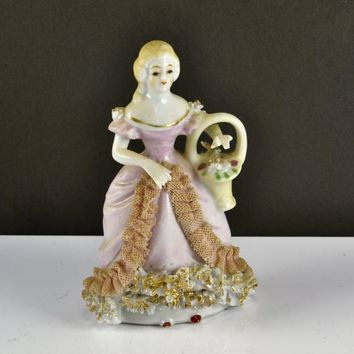 Dresden Lace Figurine Woman w/ Flower Basket Occupied Japan Colonial Victorian Renaissance Porcelain Pink Dress Flowered Shoulders
