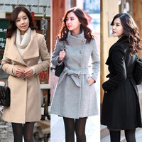 Fashion Korean Women's Woolen Warm Winter Long Jacket Trench Coat Overcoat  7_S = 1916222340