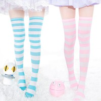 Long Stripe Thigh High Socks, 7 Colors