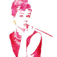 Original Pink and Purple Audrey Hepburn silhouette watercolor. Audrey Hepburn Poster, art print, Wall art, Breakfast at Tiffany, poster
